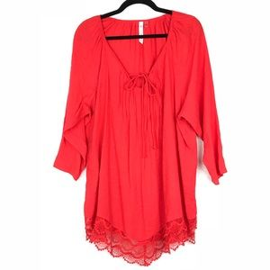 Bright red lace trim tie neck flowy top